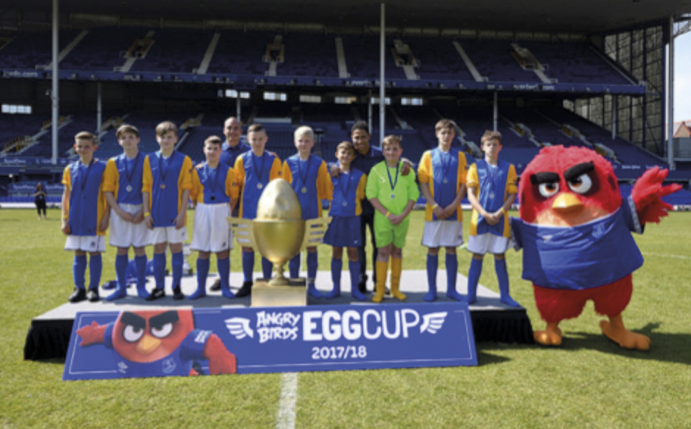 Angry Birds Egg Cup on Goodison Park Turf!
